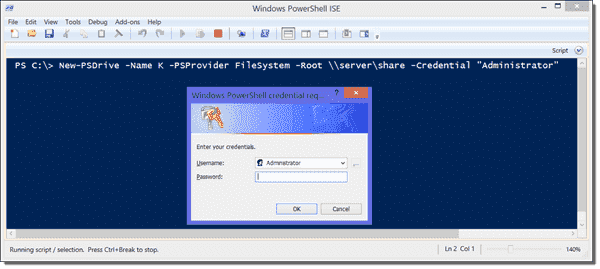 The -Credentials parameter opens a dialog window