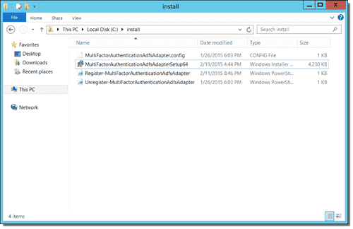 The installation files for the Multi-Factor Authentication AD FS Adapter (2)