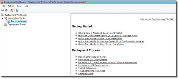 The updated MDT Workbench showing deployment help links to TechNet.
