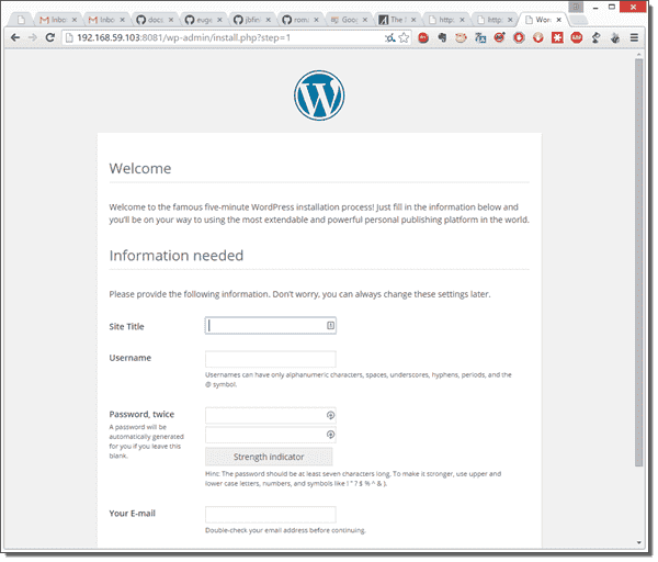 This is a fully portable and containerized WordPress installation