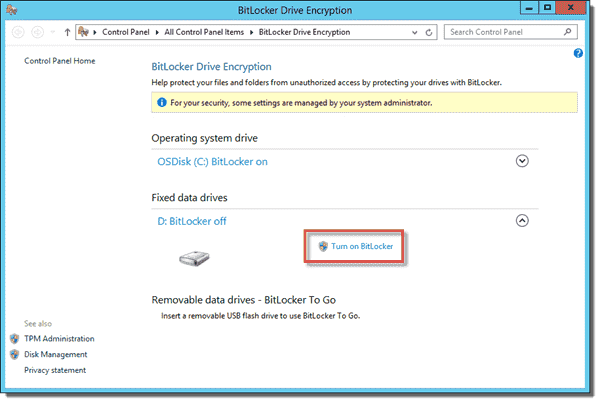 Turn on BitLocker using the GUI for fixed data drives