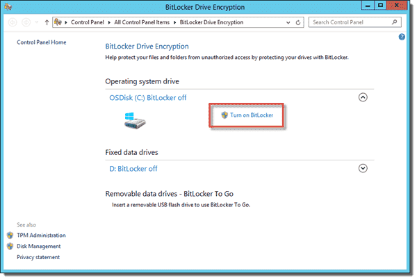 Turn on BitLocker using the GUI for the Operating system drive