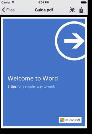 Viewing files in the Work Folders iPhone app