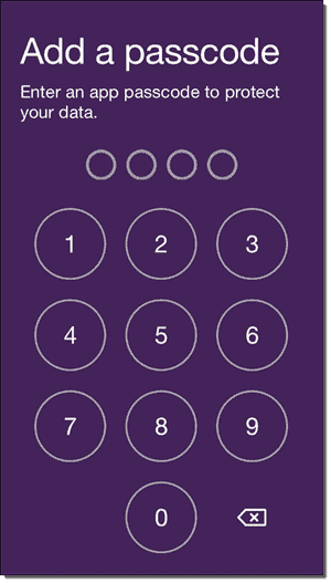 Work Folders iPhone app - Add a passcode PIN entry