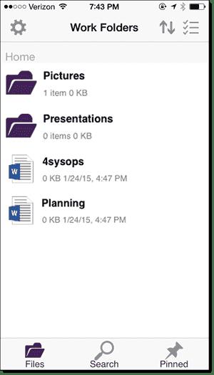 Work Folders iPhone app - List of files and folders