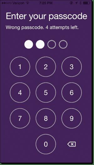 Wrong passcode - 4 attempts left