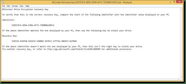 BitLocker Recovery Key example