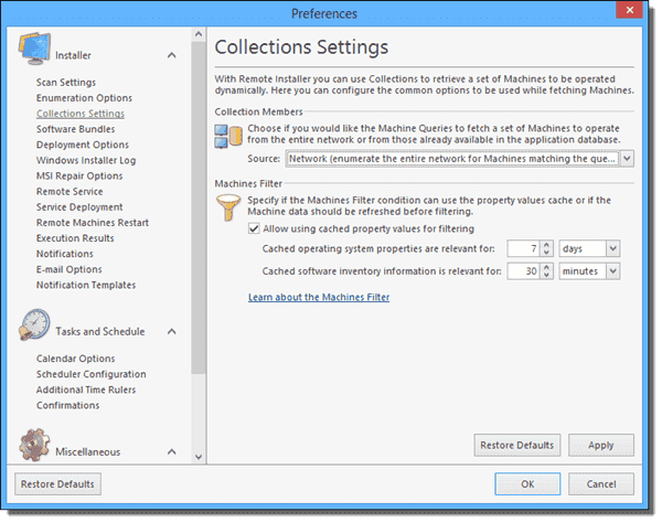 Collection settings