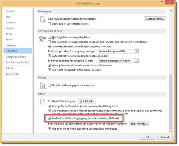 Enable troubleshooting logging in Outlook 2013