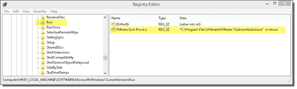 Verifying that we do indeed have data in our Run Registry key