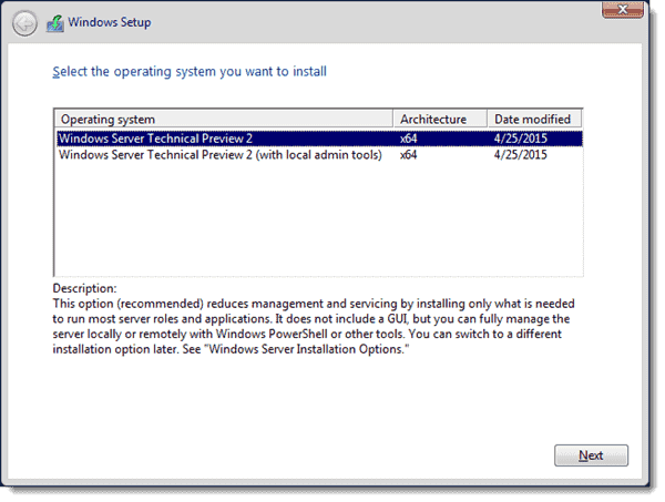 Windows Server 2016 - Select the operating system you want to install