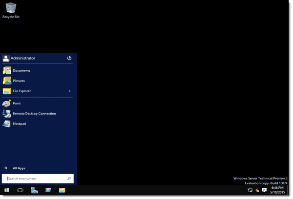 Windows Server 2016 with GUI enabled