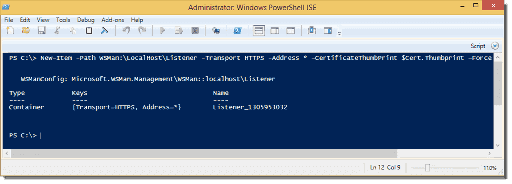 PowerShell Remoting over HTTPS with a self-signed SSL certificate