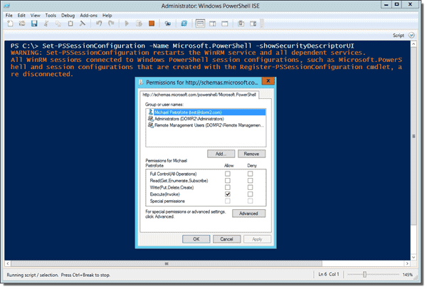 Changing PSSessionConfiguration to grant PowerShell remote access