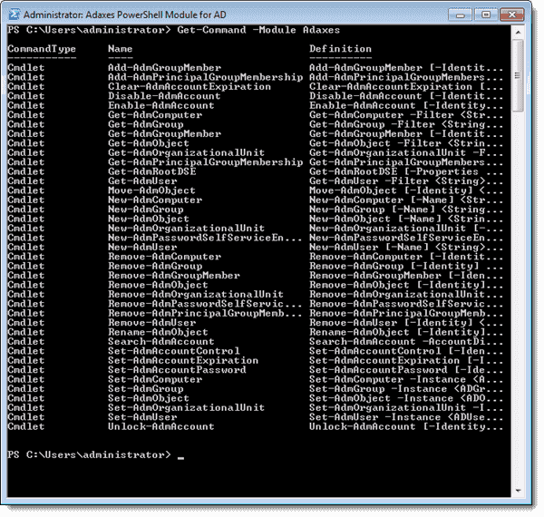 Cmdlets in the Adaxes PowerShell Module for Active Directory