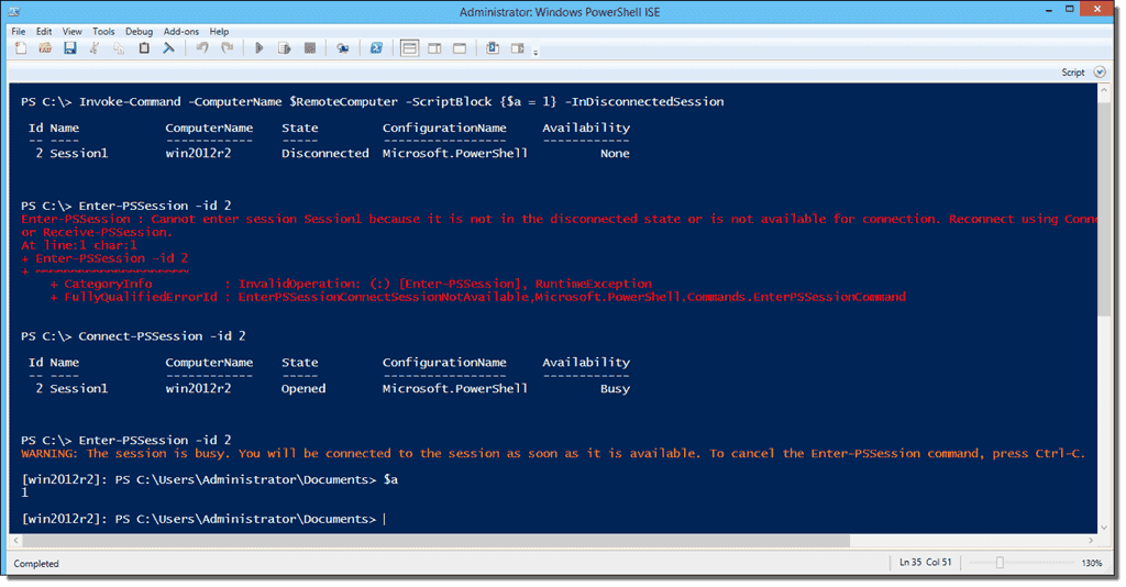 PowerShell disconnected remote sessions – 4sysops