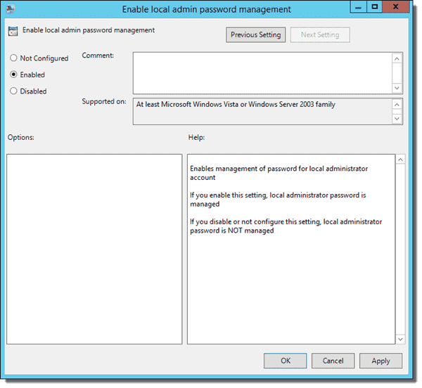 Enable local admin password management