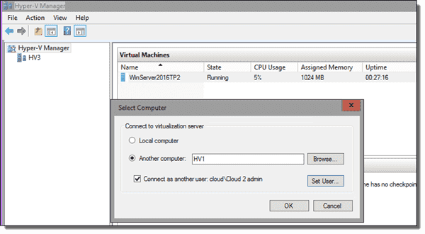 Hyper-V Manager connection with alternate credentials