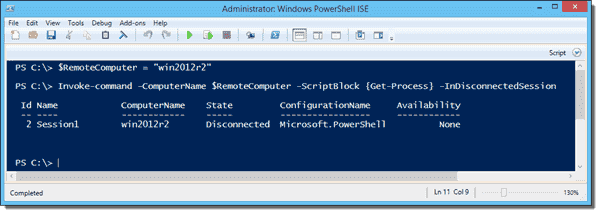 Invoke-Command with the -InDisconnectedSession parameter