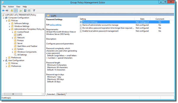 LAPS Policies in the Group Policy Management Console