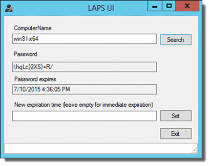 LAPS UI application showing a computer's local Administrator password