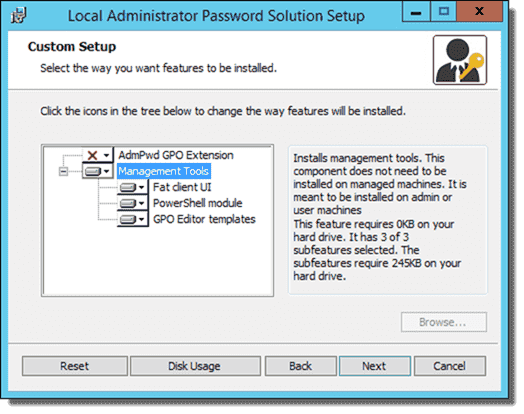 Local Administrator Password Solution Custom Setup options for server
