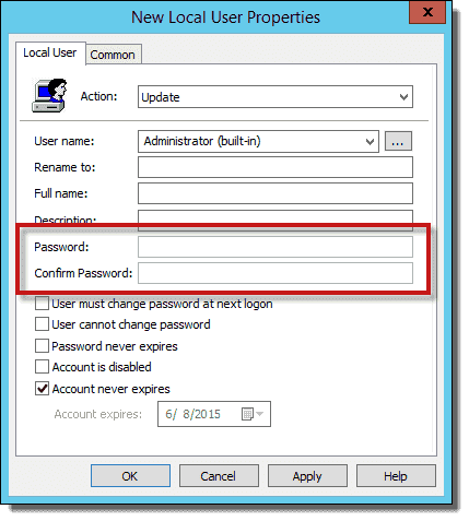 reset local administrator password using powershell