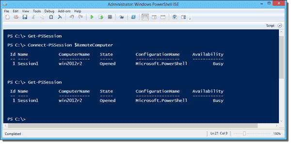 Reconnecting to a remote PowerShell session