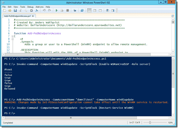 Remotely allowing a user access to PowerShell Remoting