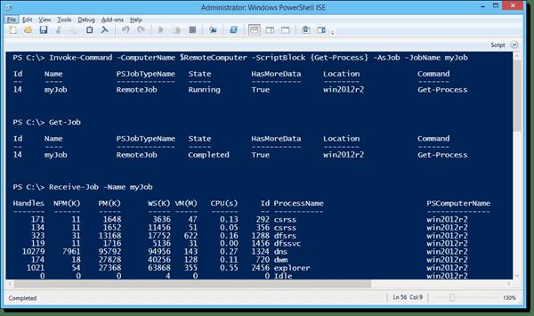 Using the -AsJob parameter