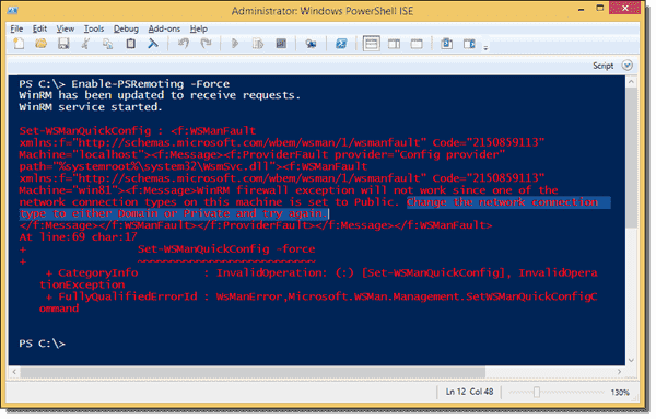 WinRM firewall exception will not work