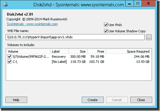 Convert the disk to VHDX using Disk2vhd