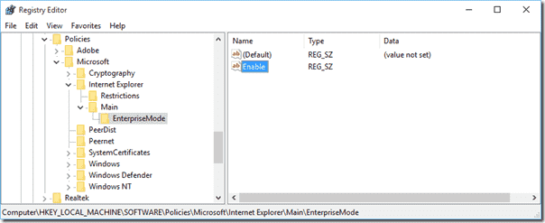 Enable Enterprise Mode for IE in the Registry