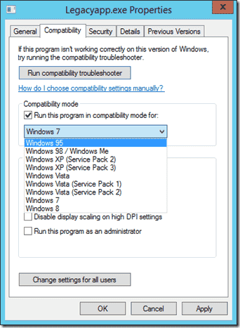 Installing a legacy application in compatibility mode