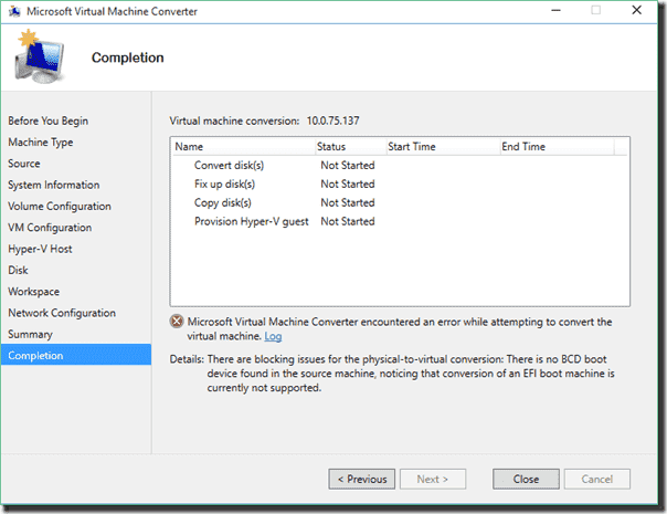 Microsoft Virtual Machine Converter encountered an error while attempting to convert the virtual machine
