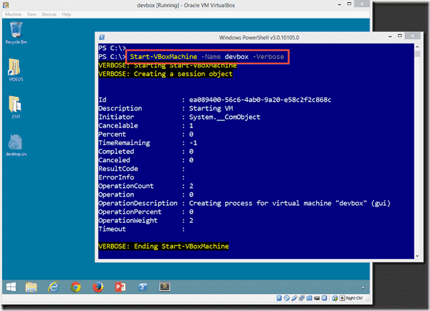 Starting a VM with Windows PowerShell