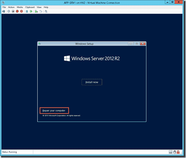 Windows Server 2012 R2 Setup Repair your computer