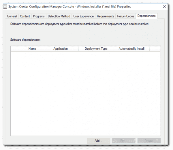 Adding a dependency to a SCCM application.