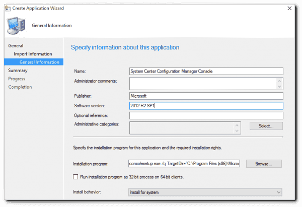 Configuring the installation program for the SCCM Console.