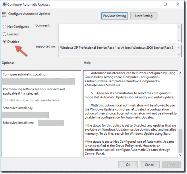 Disable Automatic Updates in the Group Policy Editor