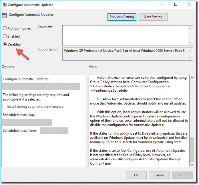 group policy editor windows 10 disable automatic updates