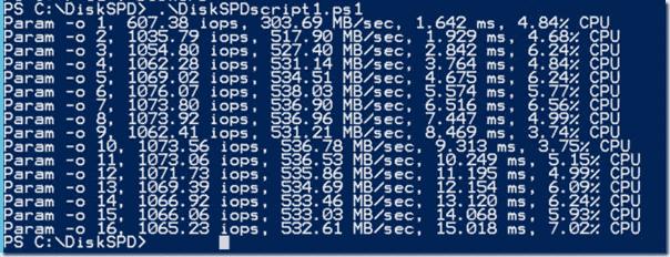 DiskSPD script results