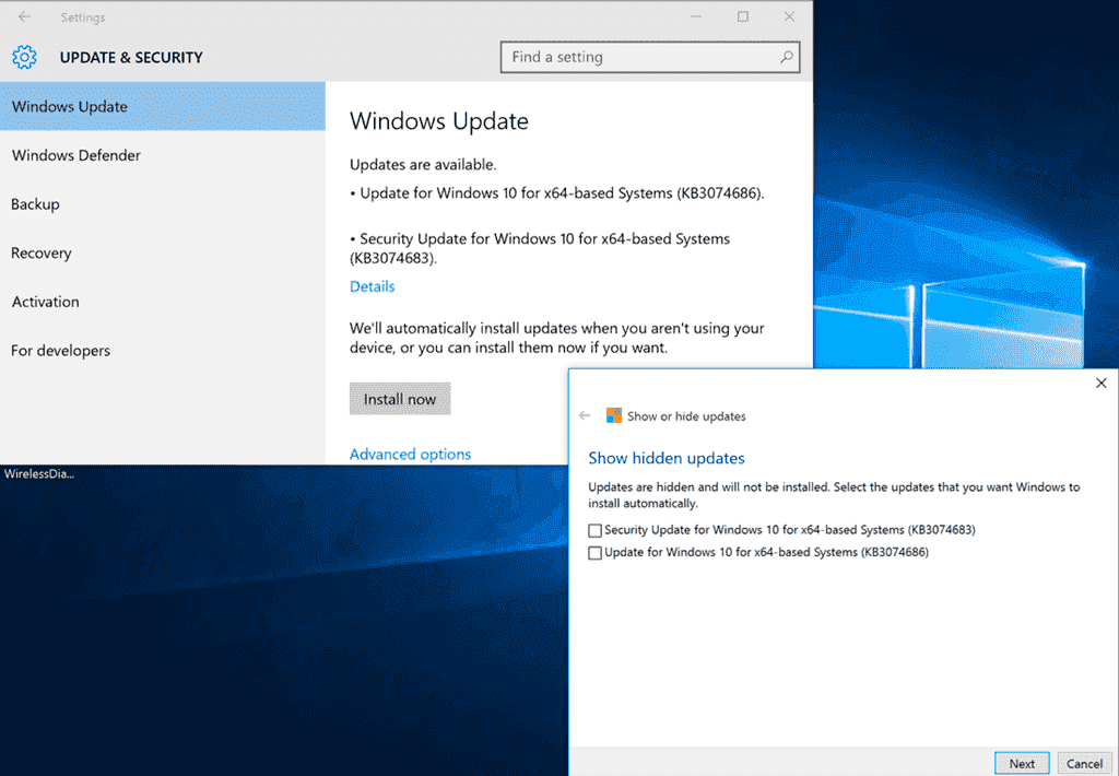 Stop automatic updates in windows 10 rtm build 10240 4sysops hidden updates still appear in windows update ccuart