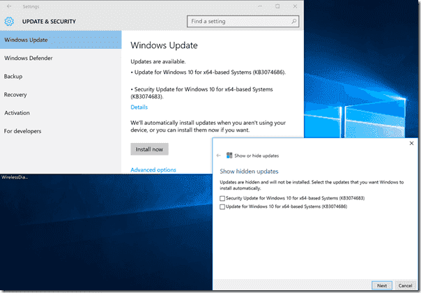 Hidden updates still appear in Windows Update