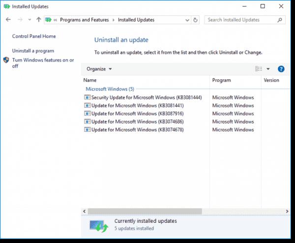 Installed updates on Windows 10 Enterprise LTSB