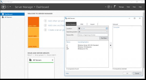 Managing Windows Server 2012 R2 with RSAT for Windows 10