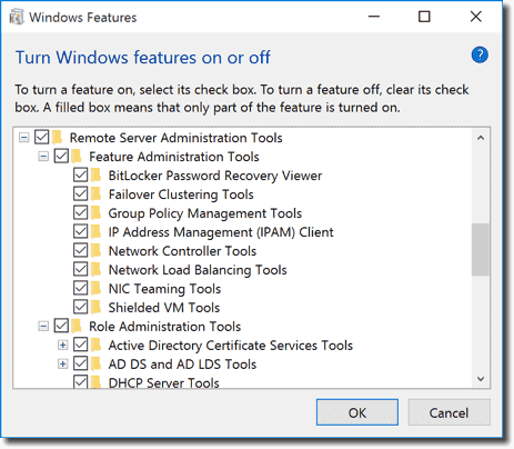 RSAT for Windows 10 - Windows Features