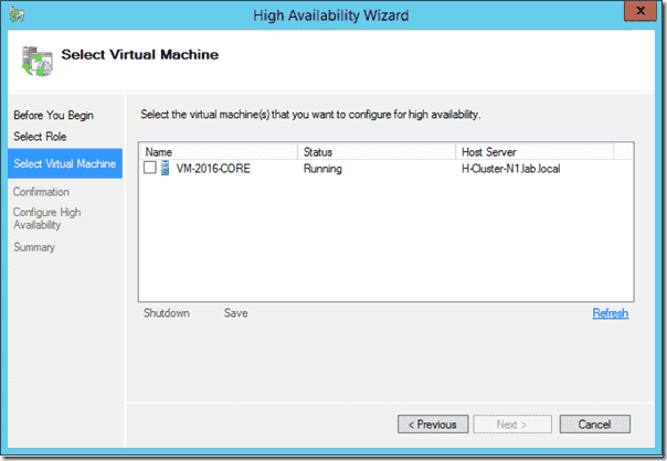 Selecting VMs for high availability