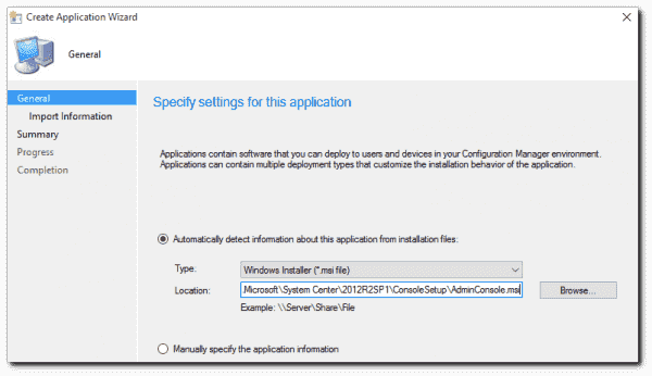 Specifying the AdminConsole.msi for the installation file.