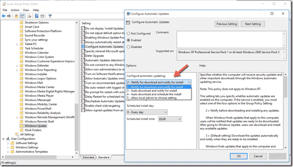 Stop automatic updates in Group Policy editor